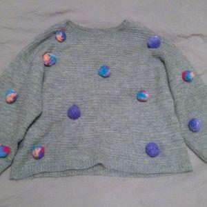 Cat & Jack Girls Gray Pom-Pom Sweater
